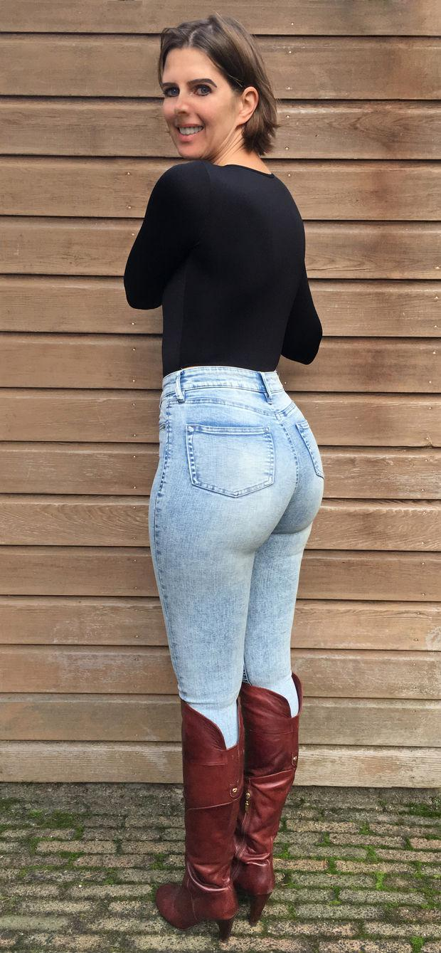 jeans brunette milf boots tight