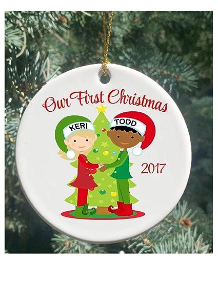 ornaments interracial christmas couple